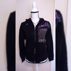Oneil Black Womens Black Sweatshirt Zipper Hoodie